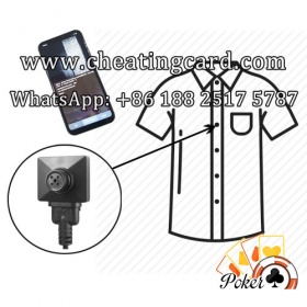 Shirt Button Camera to Scan Marked Playing Cards